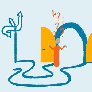 Toegangspoort en onduidelijke richtingaanwijzer - illustratie voor in rapport van onderzoek