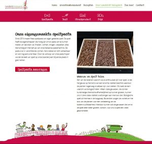 Website over biologische speltpast met iconen en illustraties