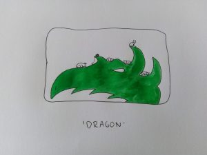 Inktober thema Dragon op Caturday