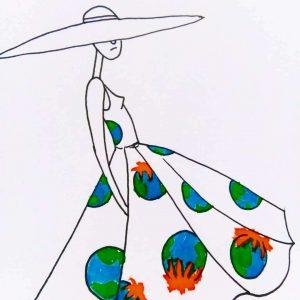 Inktober thema Pattern over patroon voor een Warme-aarde jurk
