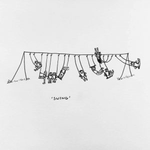 Inktober thema Swing over buitenspelende kinderen