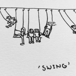 Inktober thema Swing over schommelende kinderen