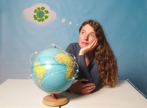 Vliegtuigen over de wereld en in gedachten een groene wereld