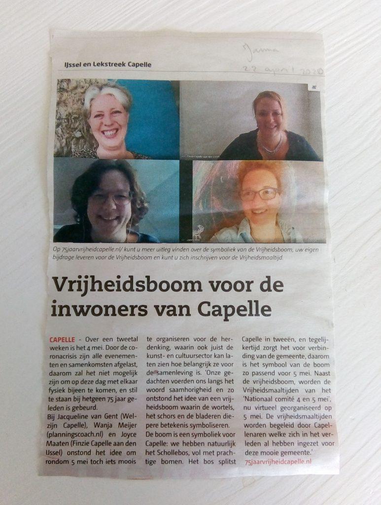 75 jaar vrijheid Capelle artikel in IJssel en Lekstreek