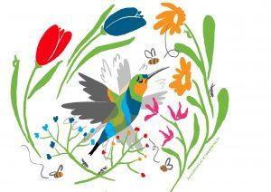 Hummingbird tussen veel bloemen en kijkt moeilijk