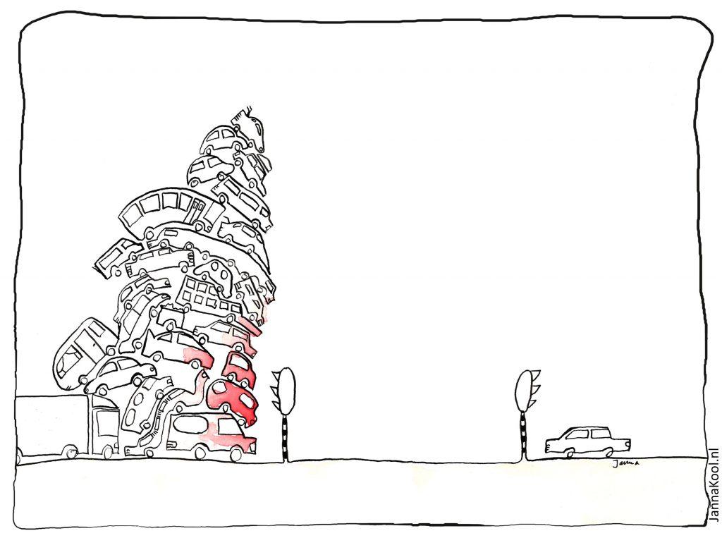 Illustratie van een berg auto's wachtend op een rood licht