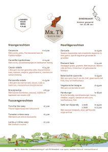 Grafisch vormgeving van de dinerkaart voor Mr. T's bistro-bar