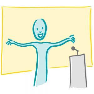 Presenteren met plezier icoon ontwerp voor Rotterdamse ondernemer Anke Boereboom Illustraties, iconen en infographics tegen faalangst